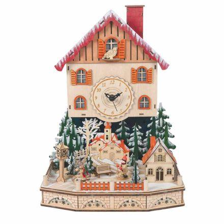 Drewniana wioska z zegarem bożonarodzeniowym ze śniegiem, diodami i muzyką - Villaggio