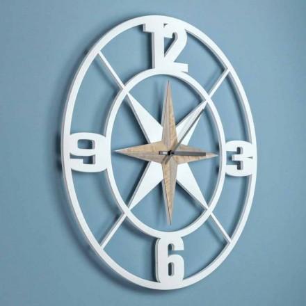 Duży projekt zegara ściennego w odrapanym białym i brązowym drewnie - zawias