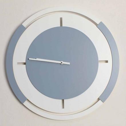 Klasyczny okrągły duży zegar ścienny w kolorze białym i drewnie Avio - Beppe