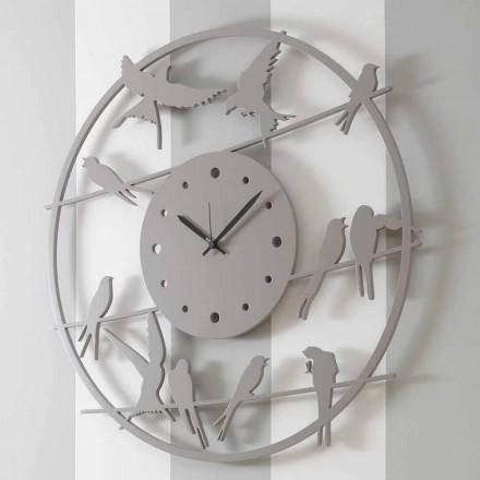 Duży nowoczesny zegar ścienny z kolorowego drewna okrągłego - ptaki