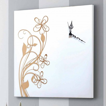 Duży kwadratowy zegar ścienny z białego drewna z kwiatkiem - Florello