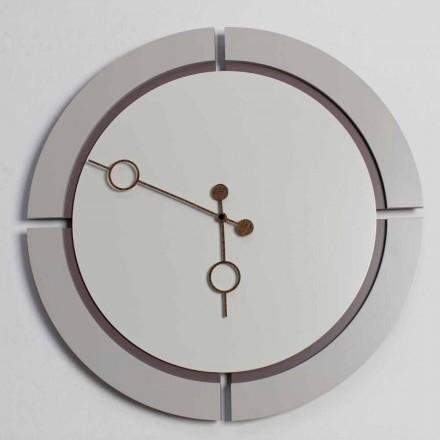 Duży okrągły nowoczesny zegar ścienny z brązowego i beżowego drewna - Osvego
