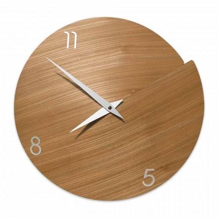 Nowoczesny zegar ścienny wykonany ręcznie z naturalnego drewna - Cratere