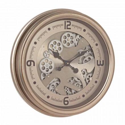 Okrągły zegar ścienny ze stali i Mdf Classic Design Homemotion - Tapestry