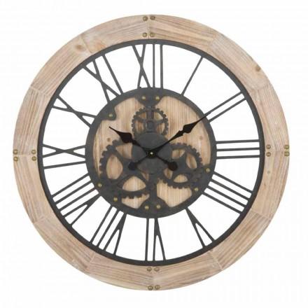 Okrągły zegar ścienny o średnicy 80 cm z żelaza i MDF - Silva