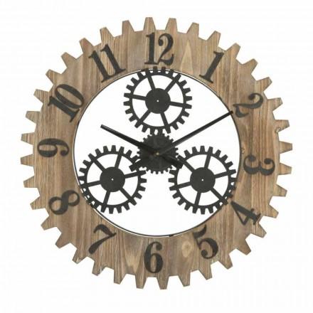 Nowoczesny okrągły zegar ścienny z żelaza i MDF - Gitta