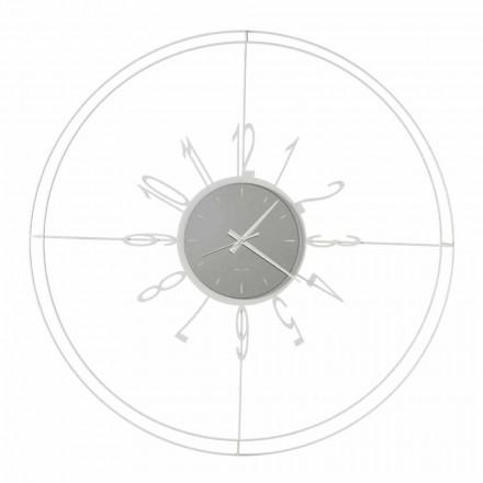 Okrągły zegar ścienny z białego, czarnego lub brązowego żelaza Made in Italy - Compass