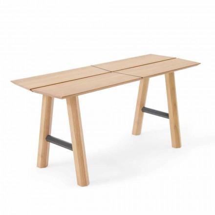 Nowoczesna ławka z drewna jesionowego z fornirowanym siedziskiem - Andria