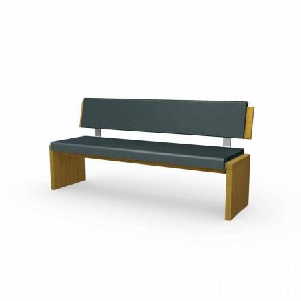 Nowoczesna ławka z drewna dębowego, tapicerowana czarną eko-skórą, Candy