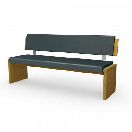Nowoczesna ławka z drewna dębowego obitego czarną eko-skórą, Misty