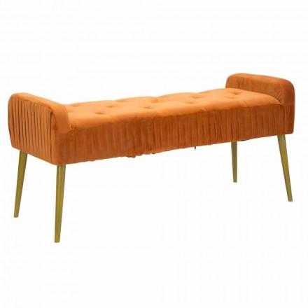 Nowoczesna prostokątna ławka w kolorze rdzy z tkaniny i drewna - Zack