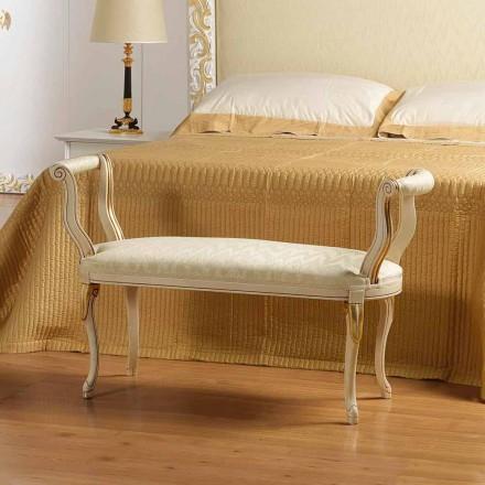 Ławka do sypialni kolor kości słoniowej z złotymi dekoracjami Tyler