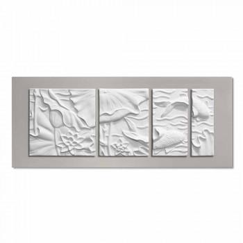 Dekoracyjny Panel Ścienny Nowoczesny Design Biało-Szara Ceramika - Giappoko