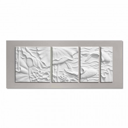 Dekoracyjny Panel Ścienny Nowoczesny Design Ceramika Biało Szara - Giappoko