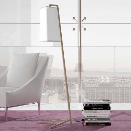 Metalowa lampa podłogowa z nowoczesnym białym bawełnianym abażurem Made in Italy - Barton