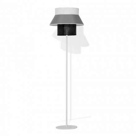 Nowoczesna lampa podłogowa z metalu i abażuru z bawełny i rattanu Made in Italy - Sailor