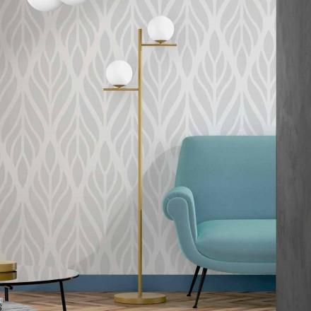 Nowoczesna lampa podłogowa z metalowym mosiężnym wykończeniem i szkłem opalowym Made in Italy - Carima