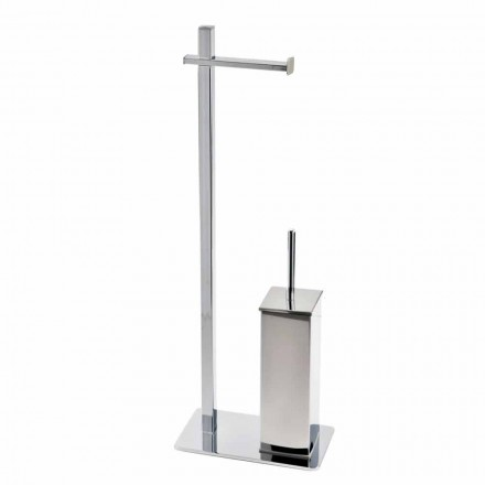 Żelazny stojak o nowoczesnym designie na szczotkę do toalety i rolkę Made in Italy - Cali