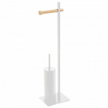 Uchwyt na szczotkę toaletową i papier designerski z metalu i drewna Zelbio