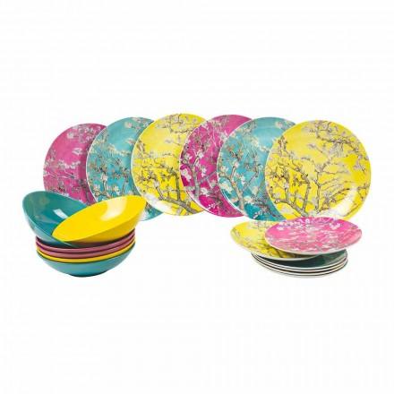 Kolorowe płytki porcelanowe i kamionkowe Nowoczesny serwis stołowy 18 sztuk - Nagoja