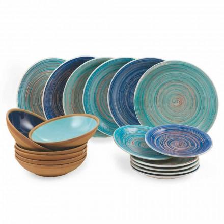 Kolorowe i nowoczesne talerze 18 sztuk w kamionce Kompletny serwis stołowy - Egadi