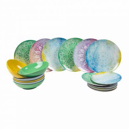 Kolorowe naczynia w porcelanie 18-elementowy stół do serwowania - Ipanema