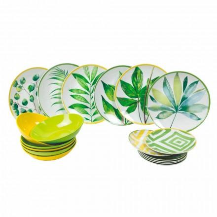 Kolorowe talerze z porcelany i Gres Modern Service Ukończ 18 sztuk - Albore