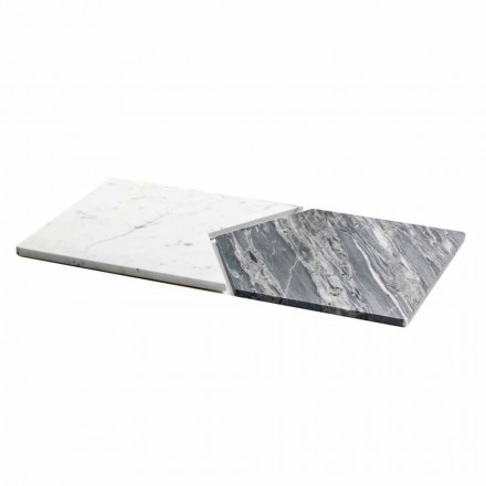 Talerze do serwowania z marmuru Carrara i Bardiglio Made in Italy, 2 sztuki - groszek