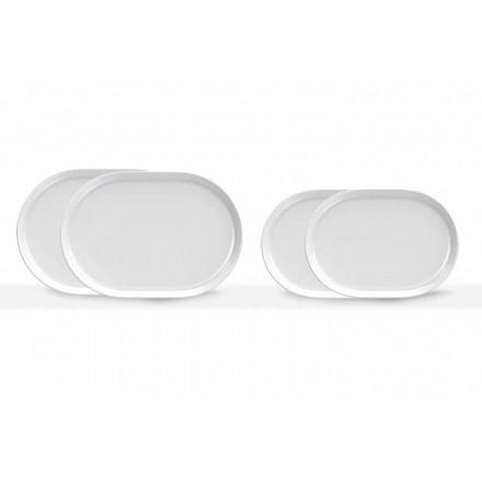 Nowoczesny design, białe, owalne talerze do serwowania z porcelany, 4 sztuki - Arctic