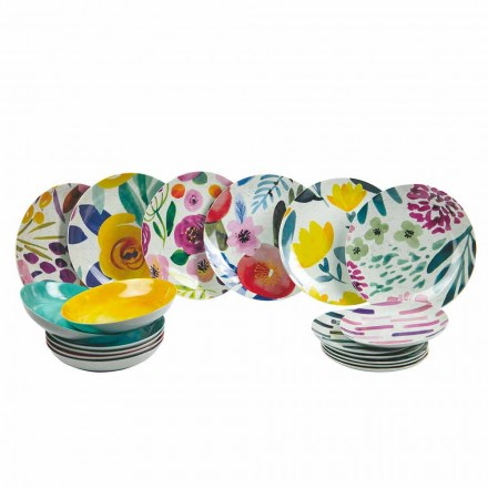 Kolorowe talerze stołowe z kamionki i porcelany 18 sztuk - Tintarello