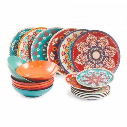 Naczynia etniczne 18-elementowy serwis stołowy z kolorowej porcelany i kamionki - Persja