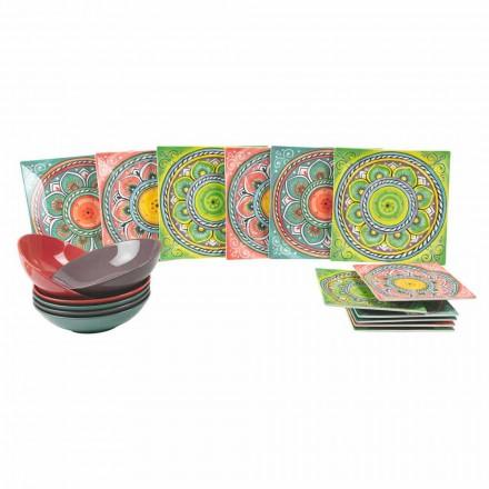 Kwadratowe kolorowe tabliczki etniczne w serwisie porcelanowym i kamionkowym 18 sztuk - kanarek