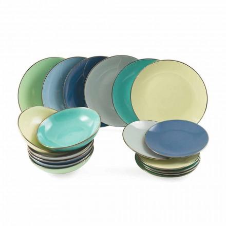 Płytki w kolorowej nowoczesnej kamionce 18 elementów Kompletny serwis stołowy - królewski