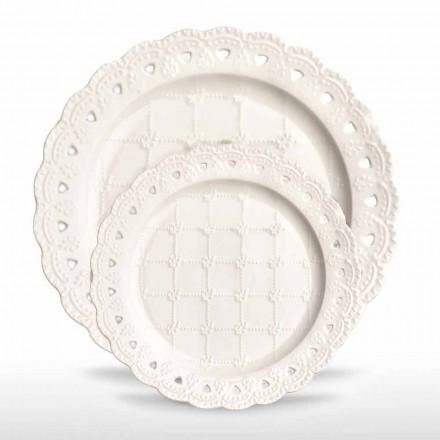 Ulubiony talerz 12 sztuk w białej porcelanie ręcznie zdobiony - Rafiki