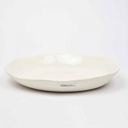 Włoski luksusowy okrągły talerz do serwowania z białej porcelany - Arcimaesta