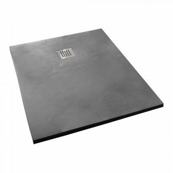 Brodzik 120x80 cm z efektem żywicy betonu w nowoczesnym stylu - Cupio