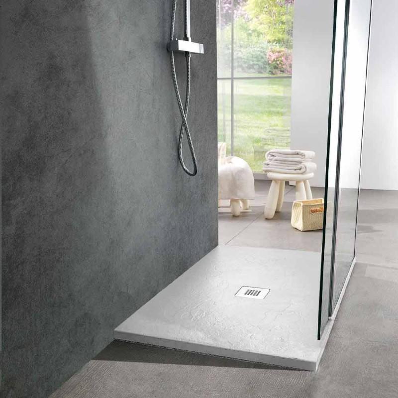 Brodzik 120x90 Modern Design z efektem białej żywicy łupkowej - Sommo