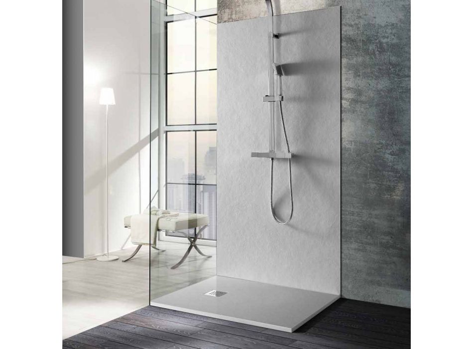 Brodzik prysznicowy 120x90 z żywicy imitującej kamień z rusztem stalowym - Domio