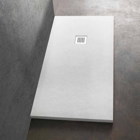 Brodzik 140x70 z żywicy imitującej kamień z rusztem stalowym - Domio