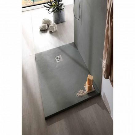 Brodzik prysznicowy z żywicy imitującej beton 170x70 ze stalową kratką - Cupio