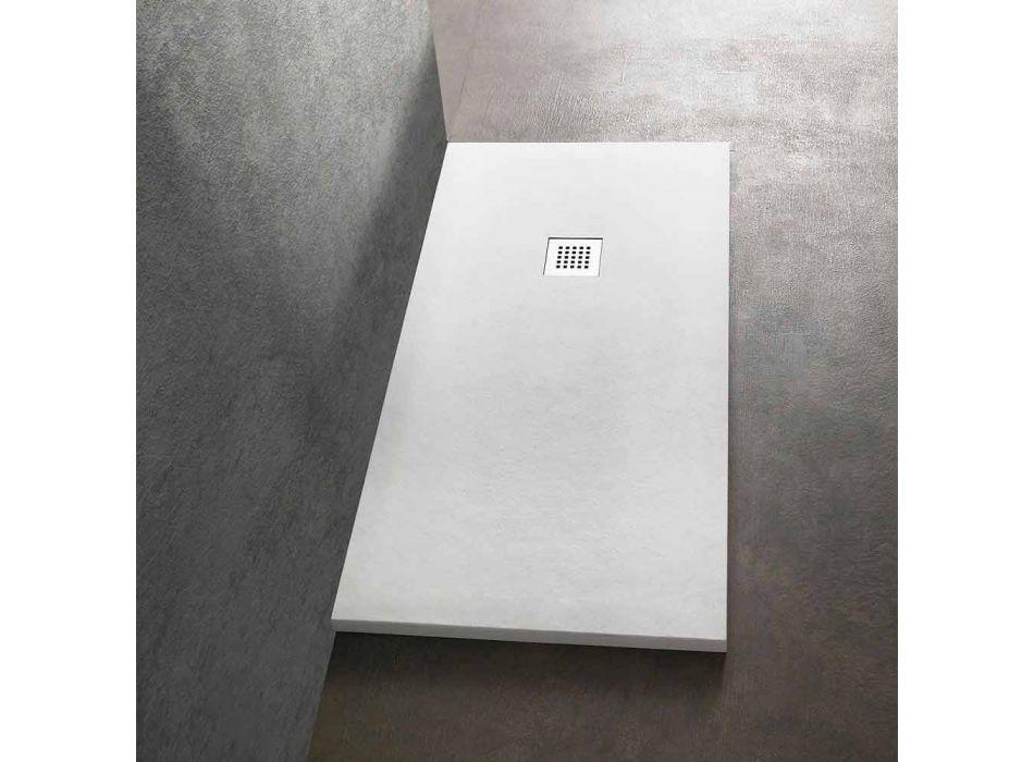Brodzik 170x70 z żywicy imitującej kamień z rusztem stalowym - Domio