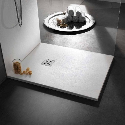 Nowoczesny brodzik 90x80 w kamieniu z efektem żywicy i stali - Domio