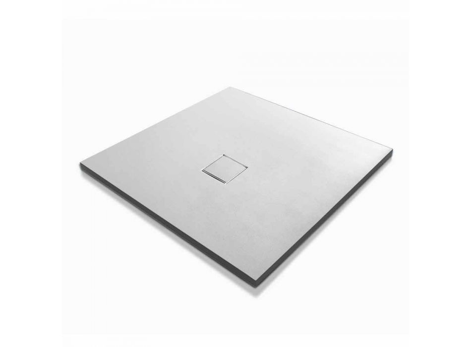 Brodzik kwadratowy Design 90x90 z efektem białej żywicy Velvet - Estimo