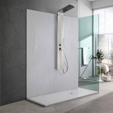 Brodzik prysznicowy z żywicy biały efekt łupka 170x70 Modern Design - Sommo