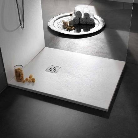Nowoczesny brodzik 120x80 w kamieniu z efektem żywicy i stali - Domio