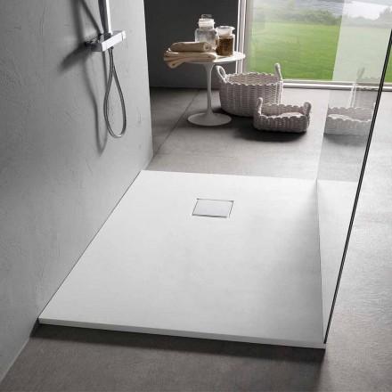 Nowoczesny brodzik prostokątny 100x80 cm z żywicy Velvet Effect - Estimo