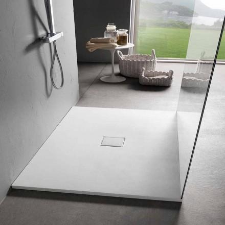 Brodzik kwadratowy 80x80 cm z efektem białej żywicy aksamitnej - Estimo