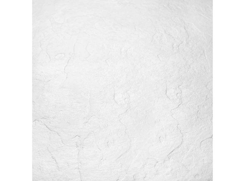 Brodzik kwadratowy 80x80 z żywicy z efektem białego łupka i stali - Sommo