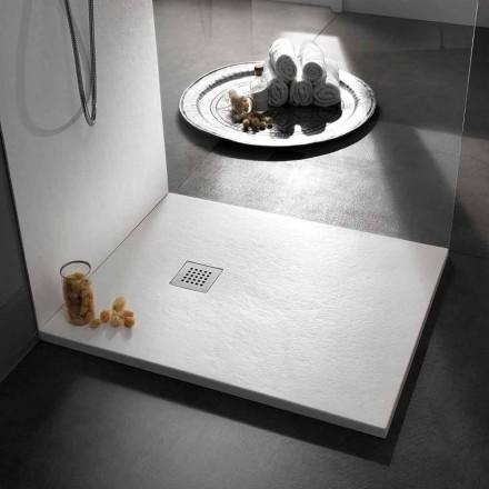 Brodzik kwadratowy 80x80 z żywicy z efektem nowoczesnego kamienia - Domio