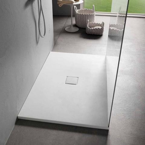 Brodzik prostokątny 140x90 cm z efektem białej żywicy Velvet - Estimo